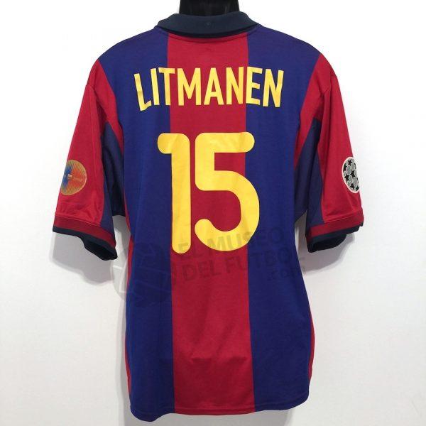 factory authentic 91fb5 e4c87 Fc Barcelona 00-01 Home Shirt #15 LITMANEN SS Champions ...