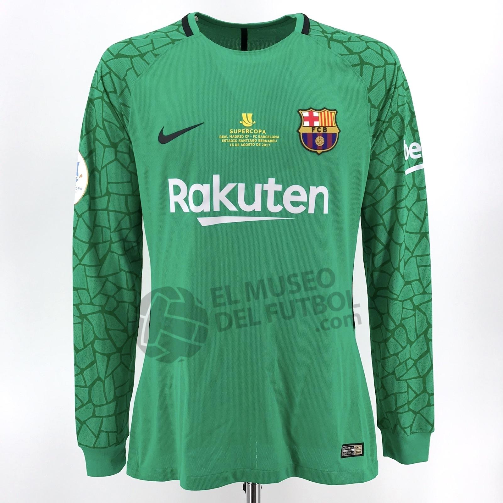 ab1ec7ae470 Fc Barcelona 17-18 Goalkeeper Green Shirt TER STEGEN LS Supercopa 2nd Leg*  – El Museo del Futbol
