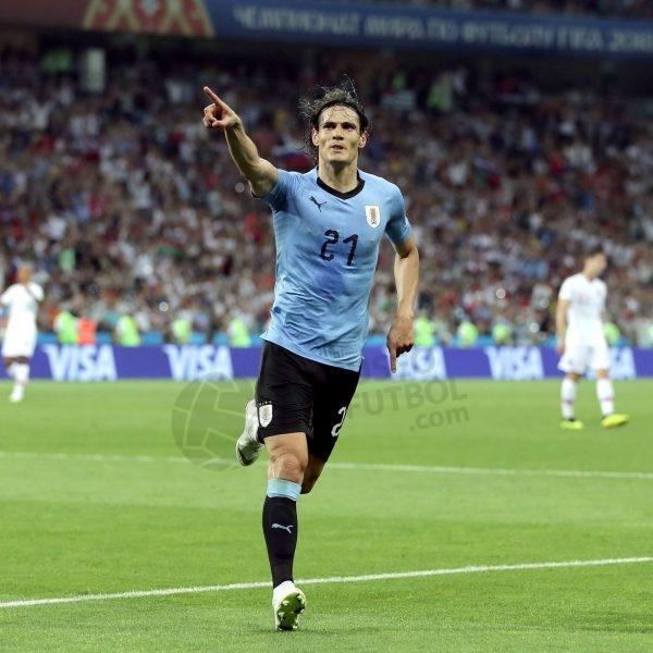 2018 Uruguay World Cup Home Shirt #21 CAVANI vs Portugal